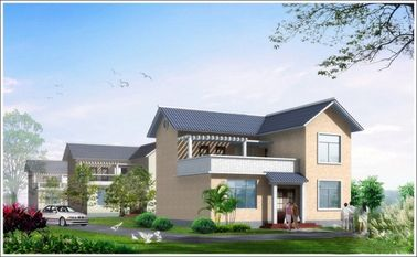 중국 2개의 이야기 가벼운 강철은 Woden 집, 살기를 위한 백색 조립식 강철 집을 조립식으로 만들었습니다 대리점